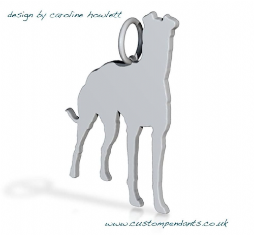 Smooth coated lurcher pendant sterling silver handmade by saw piercing Caroline Howlett Design